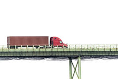Red Semi Truck on Bridge Isolated on White Royalty Free Stock Photo