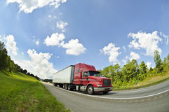 Red Semi Truck On Interstate Highway 1 Royalty Free Stock Images