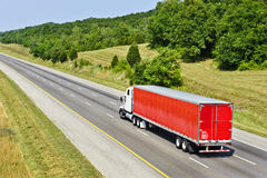 Red Semi Truck On Interstate Highway Royalty Free Stock Photography