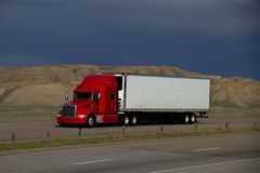 Red Semi-Truck MARKINGS REMOVED Stock Image