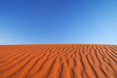 Red sand dune on a clear day, Northern Territory, Australia. Detail of ripples in a red sand dune on a clear day. Photographed in the Northern Territory in stock image
