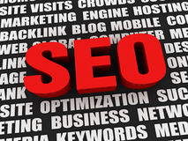 Red seo word 3d illustration Royalty Free Stock Photo