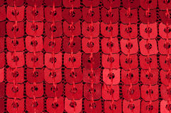 Red Sequin. Rows of red sequin threaded together Stock Image