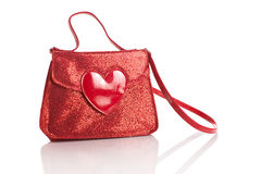 Red sequin handbag with heart Stock Image