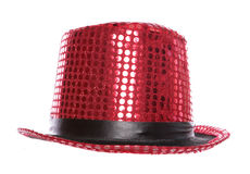 Red sequin stage show top hat Stock Photography