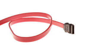 Red Serial ATA cable Stock Image