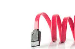 Red Serial-ATA cable with white background Stock Photo