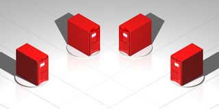Red servers. Rendered computer-like objects on a reflective floor Royalty Free Stock Photos