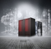Red servers with grey background Stock Photography