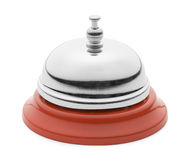 Red Service Bell. New Shiny Service Bell From the Side View Isolated on a White Background Stock Image