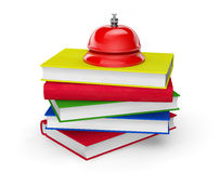 Red Service Bell standing on stack of books. On a white background Stock Photos