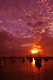 Red set. Yachts on calm water with golden reflection of the sun Stock Photography