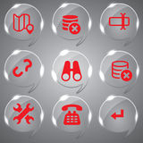 Red Set Icons Glass Vector. Best Red Icons Set Vector In Glass For Design Royalty Free Stock Photography