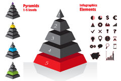 Red set of isometry symmetrical pyramid charts, diagram 5 levels. Elements infographics. Vector Royalty Free Stock Photo