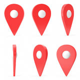 Red set map pointer  on white background. Ralistic map pointer, GPS location symbol, three-dimensional icons, 3D Royalty Free Stock Photography