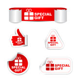 Red set  paper stickers special gift with icon Stock Photos
