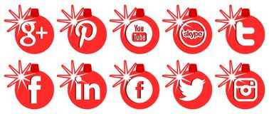 Red set of social networks icons for Christmas Stock Images