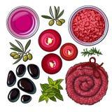 Red set of spa salon accessories - basalt stones, massage oil, towel, candles, aromatic salt Stock Image