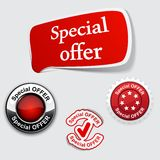 Red set of Special offer labels. Royalty Free Stock Photo