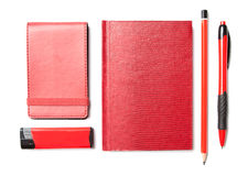 Red set of stationery. Isolated on white background Stock Photos