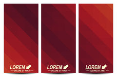 Red set of vector flyers. Background with dark red triangles. Flyer, web, banner, card, vip, certificate, gift, voucher Royalty Free Stock Images