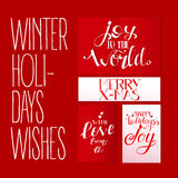 Red set with Xmas greetings Royalty Free Stock Photography