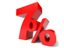 Red seven percent off. Discount 7%. Stock Images
