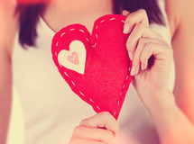 Red sewn heart Stock Photography