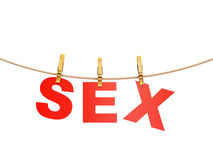 Red sex letters hanging on rope with clothespins, isolated on white Royalty Free Stock Photo