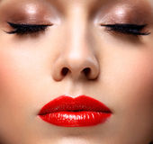 Red Sexy Lips and Nails closeup. Open Mouth Royalty Free Stock Images