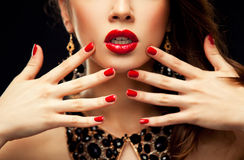Red Sexy Lips and Nails closeup Royalty Free Stock Photos
