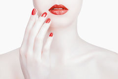 Red Sexy Lips and Nails closeup Stock Photos