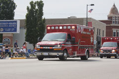 Red Seymour Rescue Ambulance Front View Stock Photos