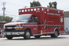 Red Seymour Rescue Ambulance Side View Stock Photos