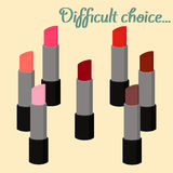 Red shades lipstick set  on background, vector. Royalty Free Stock Photo