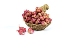 Red Shallot onions in a basket Stock Photos