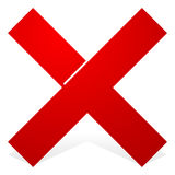 Red X shape with snick and shadow isolated on white. Cancel, wrong, decline icon. Royalty free vector illustration stock illustration