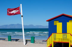 Red shark warning flag Royalty Free Stock Photo