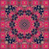 Red shawl in russian style. Beautiful square rug.  Royalty Free Stock Photos
