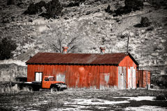 Red Shed With Old Red Pickup Royalty Free Stock Photography