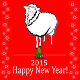 Red sheep. 2015 new year card with red sheep Royalty Free Stock Image