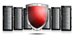 Red Sheild with Servers depicting Protection Royalty Free Stock Images