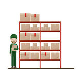 Red shelves with sealed package and dispatcher Royalty Free Stock Images