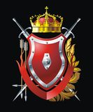 Red shield. With crown, arrows  and two swords Royalty Free Stock Photography