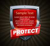 Red shield on black & text Royalty Free Stock Image