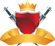 Red Shield with Crown Royalty Free Stock Photography