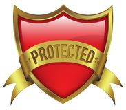 Red shield in gold frame with ribbon with protected text. Emblem Royalty Free Stock Photos