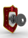 Red shield with key Stock Photography