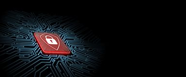 Red shield logo on microchip with glow circuit board background. Concept of business security. stock photo