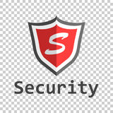 Red shield logo. Vector illustration in flat style with word sec. Urity stock illustration